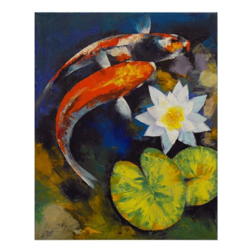 Koi fish and water lily print zazzle for How much are koi fish