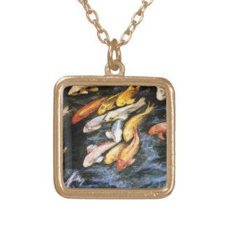 Koi Fish Art Painting Gold Necklace Pendants