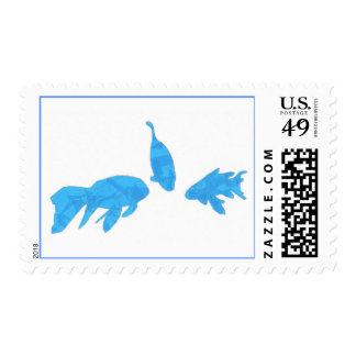 Koi fish, blue tape abstract on postage stamps