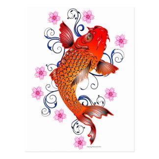 Koi Fish Carp Eastern Blossom Postcard