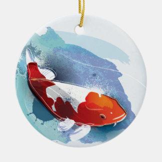 Koi fish ceramic ornament