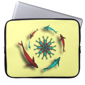 Koi Fish Circle Laptop Sleeve