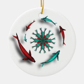 Koi Fish Circle Mandala Ornament