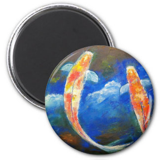 Koi Fish Cloud Reflections 2 Inch Round Magnet