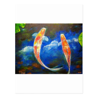 Koi Fish Cloud Reflections Postcard