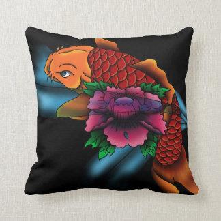 Koi fish - colored - black throw pillow