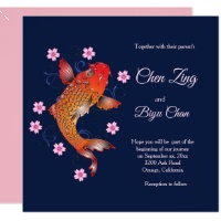 Koi Fish Custom Wedding Invitation