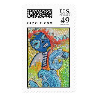 Koi Fish Fantasy Postage Stamps