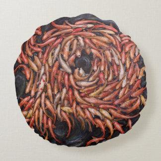 Koi fish, Frenzy Round Pillow