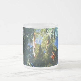 Koi fish frosted glass coffee mug