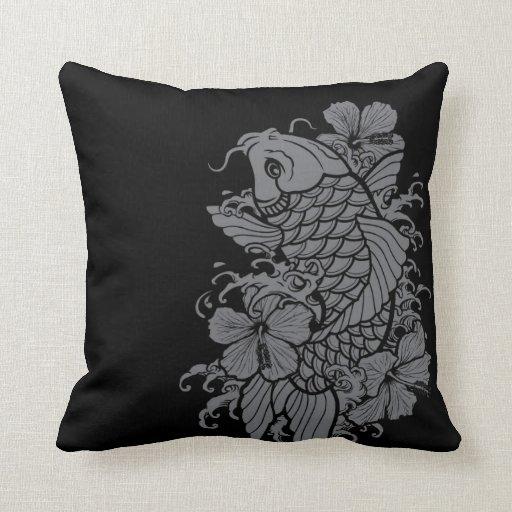 Koi Fish Gray on Black Throw Pillows