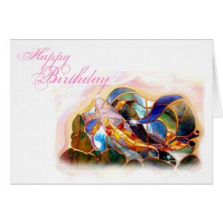 Koi Fish Happy Birthday Greeting card horizontal