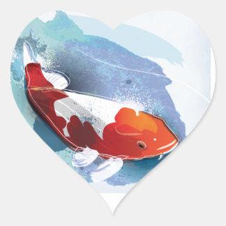 Koi fish heart sticker