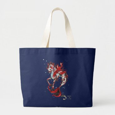 pegacorna Koi Fish Horse Unicorn Hippocampus Large Tote Bag