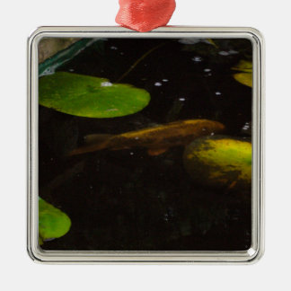 Koi Fish in a Lily Pond Metal Ornament