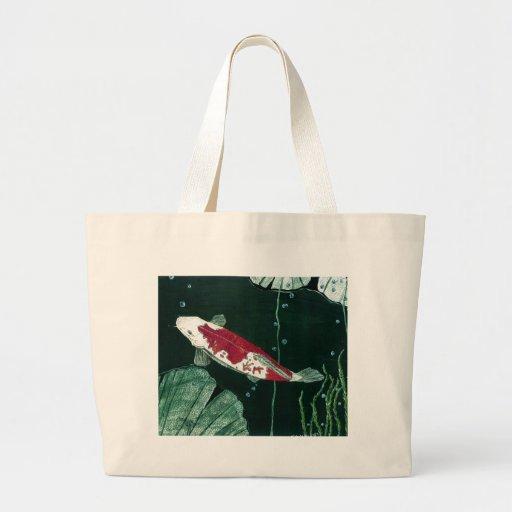 Koi fish in pond large tote bag zazzle for Koi fish purse