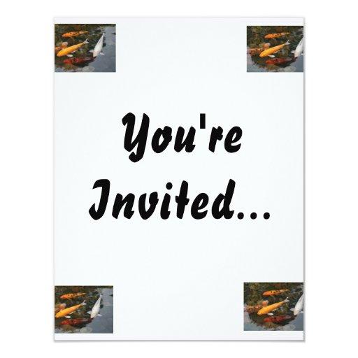 Koi Fish In Pond Photograph 4.25x5.5 Paper Invitation Card