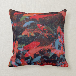 Koi Fish in Red and Blue Graphic Design Pillow