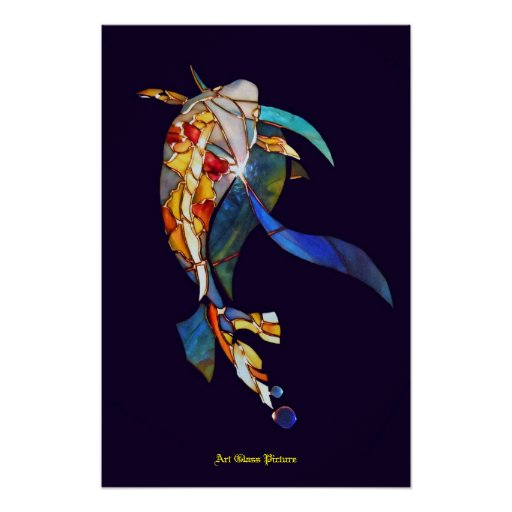 Koi fish in space wall decor artistic picture poster zazzle for Koi wall hanging