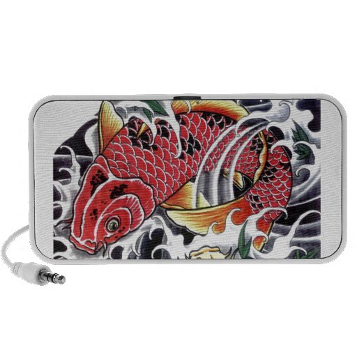 koi fish japanese tattoo design laptop speaker zazzle. Black Bedroom Furniture Sets. Home Design Ideas