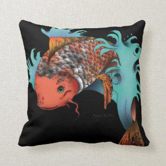 Koi fish jumping - black pillow
