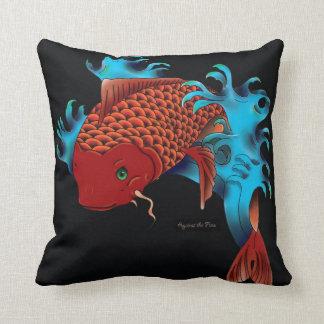 Koi fish jumping - black throw pillow