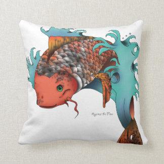 Koi fish jumping throw pillow