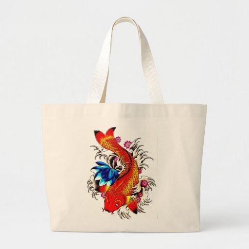 Koi fish large tote bag zazzle for Koi fish purse