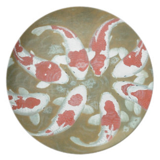 KOI FISH MELAMINE PLATE