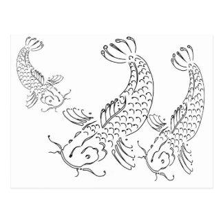 Koi fish modern design black white postcard