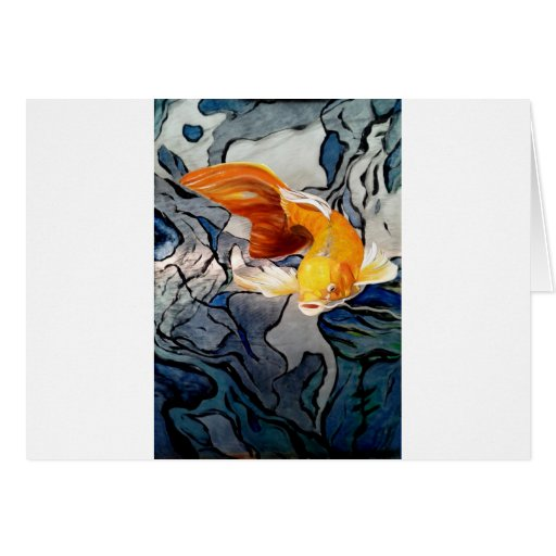 Koi fish on metal 'Swimming Through Colors' Greeting Cards