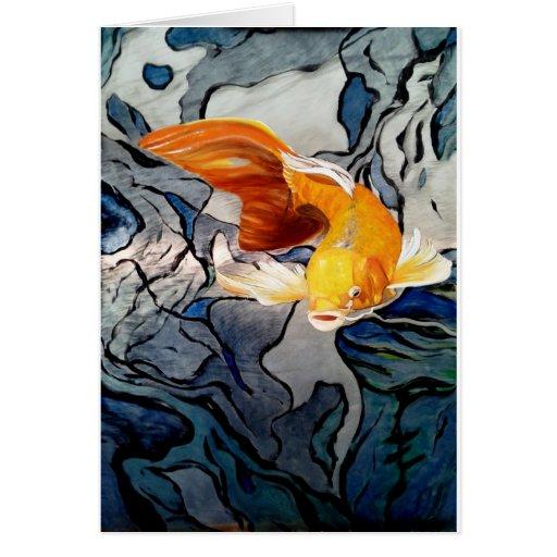 Koi fish on metal 'Swimming Through Colors' Card