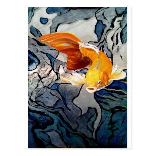 Koi fish on metal 'Swimming Through Colors' Post Card