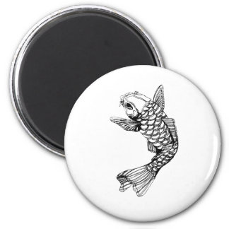 Koi Fish Outline 2 Inch Round Magnet