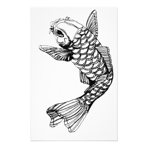Koi fish outline stationery paper zazzle for Koi fish outline