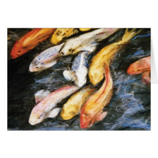 Koi Fish Pond Art Painting Note or Greeting Cards