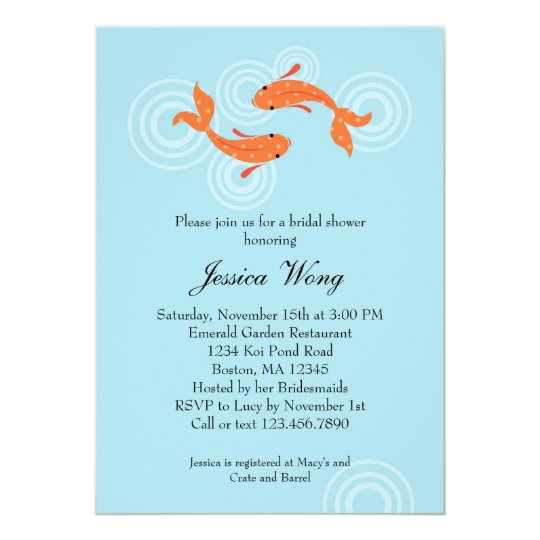 Koi fish pond bridal shower invitation zazzle for Fishing wedding invitations