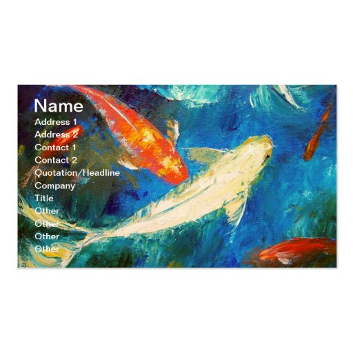 Koi fish pond cards business card templates zazzle for Koi pond gift ideas