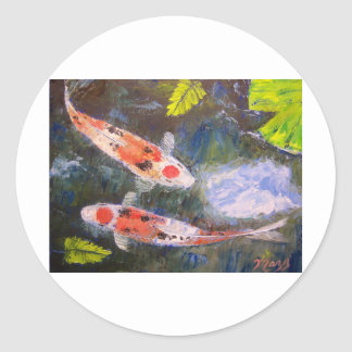 Koi Fish Pond Classic Round Sticker