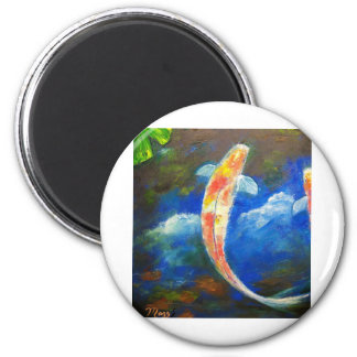 Koi Fish Pond Cloud Reflections 2 Inch Round Magnet