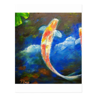 Koi Fish Pond Cloud Reflections Postcard