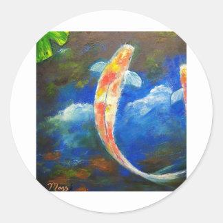 Koi Fish Pond Cloud Reflections Classic Round Sticker