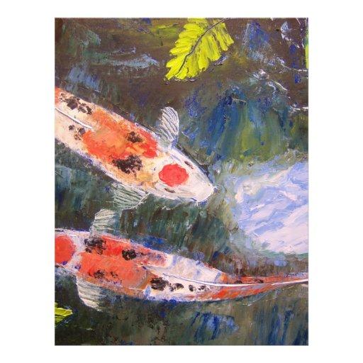 Koi fish pond custom letterhead zazzle for Custom koi ponds