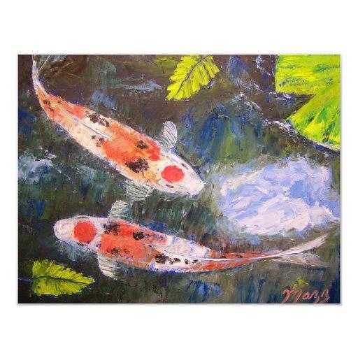 Koi Fish Pond Paper Invitation Card Zazzle