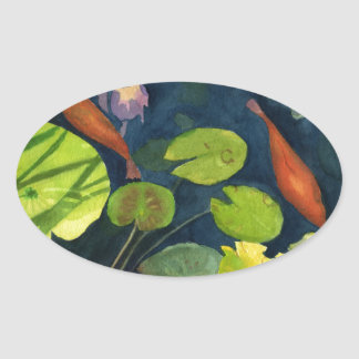 Koi FIsh pond Oval Sticker