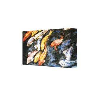 Koi Fish Pond Painting Canvas Print (Small)