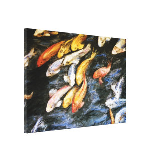 Koi Fish Pond Painting Wrapped Canvas Art Print Stretched Canvas Print