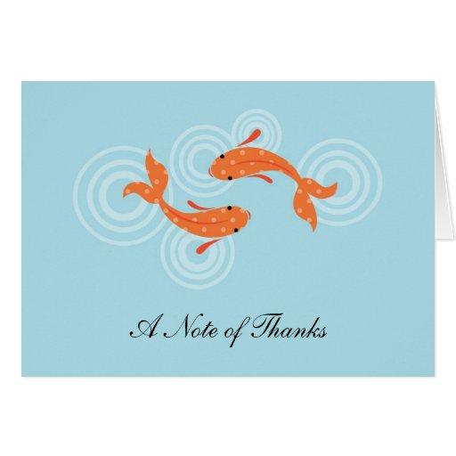 Koi Fish Pond Thank You Card Zazzle