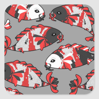 Koi Fish Print Gray and Orange Square Sticker