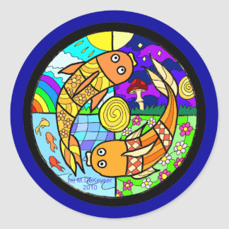 Koi Fish Pyschedelic Elemental Mandela Classic Round Sticker